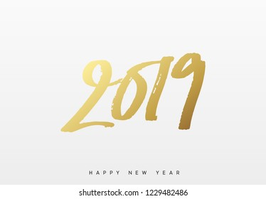 2019 Happy New Year. Text golden paint brush.