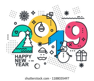 2019 Happy New Year trendy and minimalistic card or background.Modern Thin Contour Line Design Concept. Flat, outline.Isolated on white background.