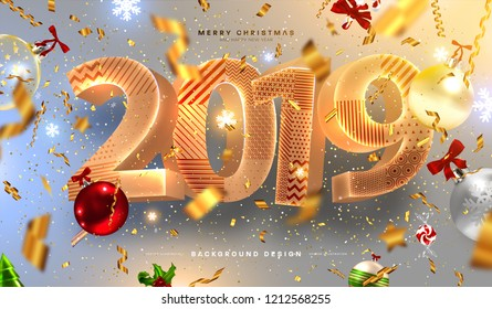 2019 Happy New Year trendy cover background design with liquid dynamic fluid spheres and Christmas toys for greeting card, banner, placard or poster. Eps10 vector illustration