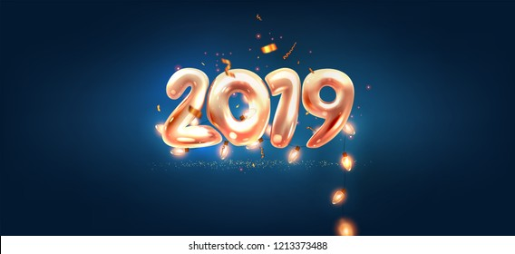 2019 Happy New Year trendy cover background design with liquid dynamic fluid shapes and Christmas lights for greeting card, banner, placard or poster. Eps10 vector illustration