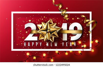 2019 Happy New Year Typographical Creative Background With Christmas Bow, Elements