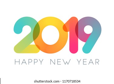 2019 Happy New Year typography design. Vector Color Overlay Numbers