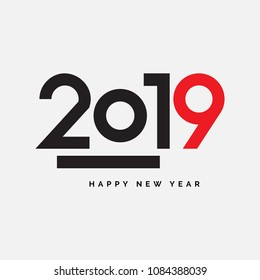 2019 Happy New Year Vector Fireworks Numbers for Calendar Design. Winter Holidays Greeting Card or Seasonal Flyers