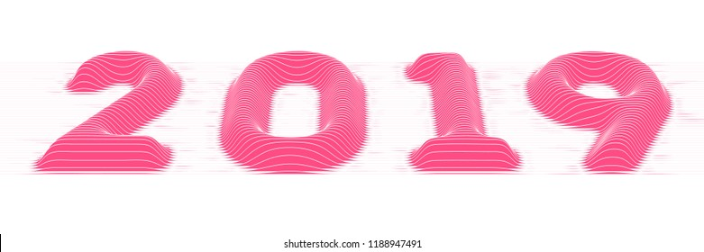 2019 Happy New Year. Vector background with embossed sliced volumetric 2019 colorful numbers for your greetings card and designs. Abstract modern conceptual illustration