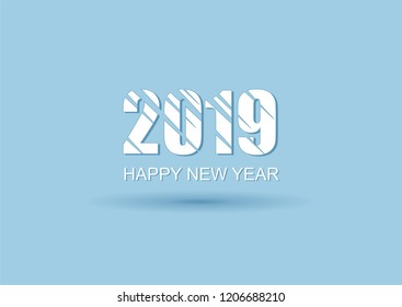 2019 Happy new year vector blue background. Christmas illustration.