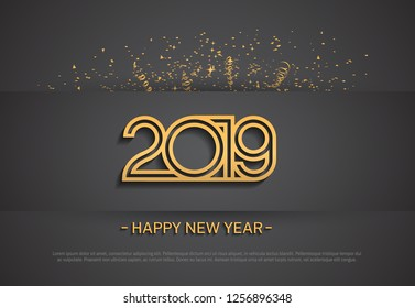 2019. Happy new year vector design golden color multiple line number with confetti for celebration