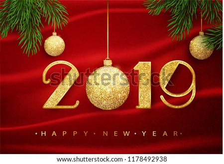 2019 happy new year vector 2019 happy new year background with golden glitter ball