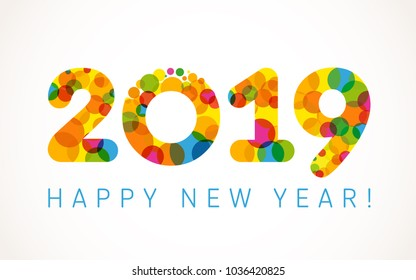 2019 A Happy New Year xmas greetings. Holidays colored background, bubbles shape pattern. Funny digits, isolated numbers template. Percent % off idea, colored letter O, 0 zero null symbol.