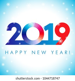 2019 A Happy New Year xmas greetings. White blue snowy winter background, stained glass null, isolated 20, 9 and 0 bright numbers. Seasonal discount digits % percent off, colored zero or O identity