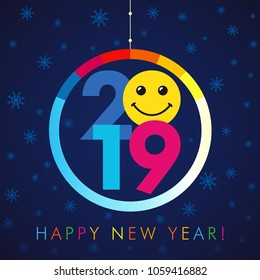 2019 A Happy New Year xmas greetings. Colored snowy winter background, smiling null, isolated 20, 9 and 0 bright numbers. Seasonal discount digits % percent off emblem as Christmas ball.