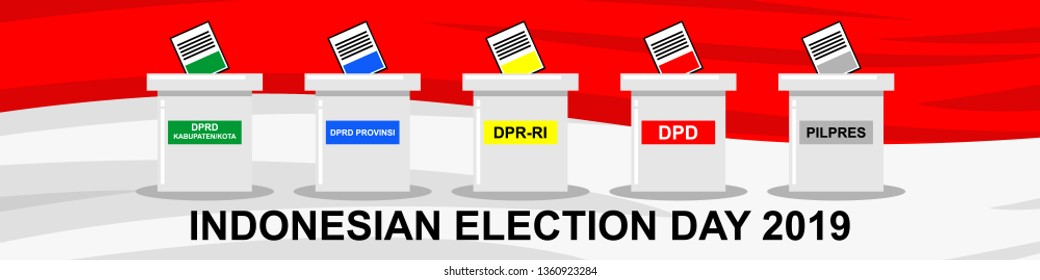 2019 Indonesian General Election  (Indonesian:  PEMILU Indonesia 2019) to elect representatives in parliament and elect the President and Vice President vector illustration.