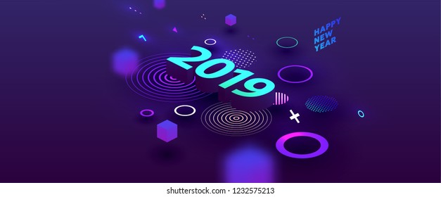 2019 isometric New Year lettering with geometric elements and effects. Trendy creative modern style for posters, covers, banners, annual reports and wallpapers. Eps10 vector illustration