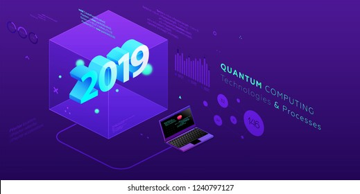 2019 isometric technology cover for business presentation, annual report and new year holiday posters and placards. Eps10 vector illustration