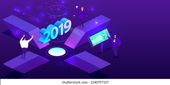 2019 isometric technology cover for business presentation, annual report and new year holiday posters and placards with trendy geometric elements and people. Eps10 vector illustration