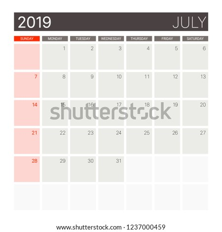 2019 July Calendar Desk Planner Weeks Stock Vector Royalty Free
