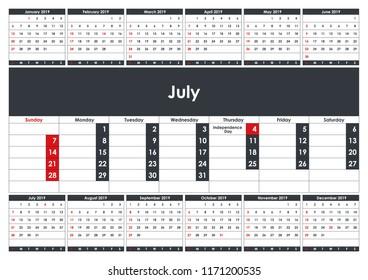 2019 January Calendar Planner Business Planner Stock Vector Royalty