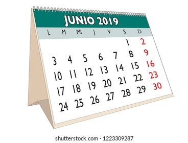 2019 June month in a desk calendar in spanish. Week starts on Monday
