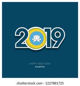 2019 Kalmykia Typography, Happy New Year Background