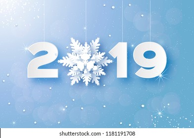 2019, Merry Christmas and Happy New Year Greetings card. White Paper cut snowflakes. Origami Decoration background. Seasonal holidays. Snowfall.Winter text. Blue.