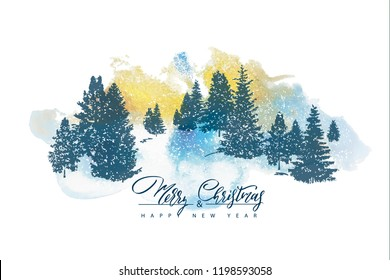2019 Merry Christmas and Happy New year background with silhouettes forest trees and watercolor texture.Vector illustration for holiday greeting card, invitation, party flyer, poster, banner