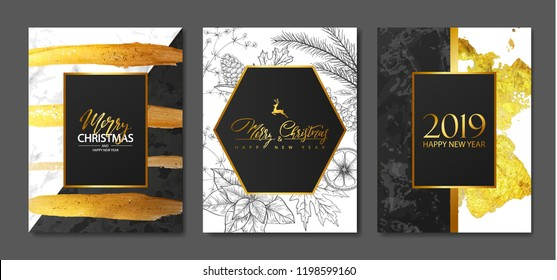 2019 Merry Christmas and Happy New Year Luxury cards collection with marble texture,Golden brush strokes and hand-drawn winter plants .Vector trendy background