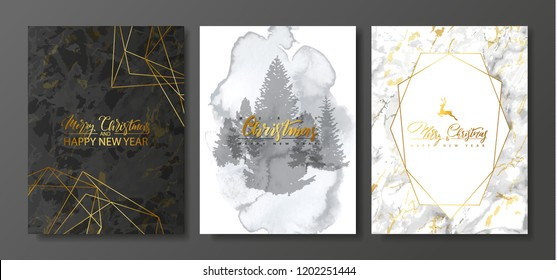 2019 Merry Christmas and Happy New Year Luxury cards collection with marble and watercolor texture and Golden geometric shape .Vector trendy background.