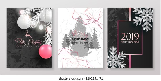 2019 Merry Christmas and Happy New Year Luxury cards collection with marble texture, Christmas balls, garland, shiny snowflakes and pink gradient shapes.Vector trendy background.