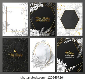 2019 Merry Christmas and Happy New Year Luxury cards collection with marble texture,Golden geometric shape and hand-drawn winter plants .Vector trendy background