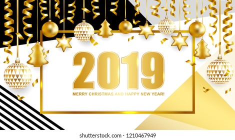 2019 Merry Christmas and Happy New Year card with balls and serpentine on geometric background. Vector illustration.