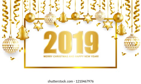 2019 Merry Christmas and Happy New Year card with balls and serpentine. Vector illustration.