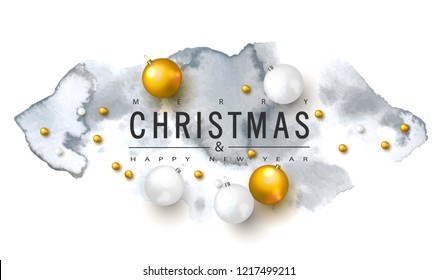 2019 Merry Christmas and Happy New year background with Christmas balls and watercolor texture.Vector illustration for holiday greeting card, invitation, party flyer, poster, banner.