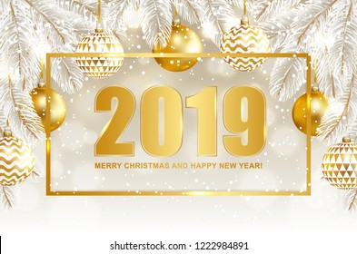 2019 Merry Christmas and Happy New Year card with balls and fir tree. Vector illustration.