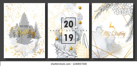 2019 Merry Christmas and Happy New Year Luxury cards collection with watercolor texture and Golden geometric shape .Vector trendy background.