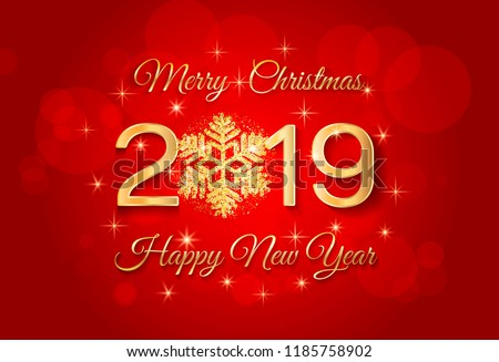 2019 merry christmas and happy new year greeting card background with golden numbers 2019 and