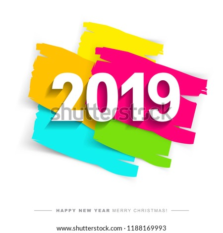 2019 merry christmas and happy new year card or background creative universal artistic cover in
