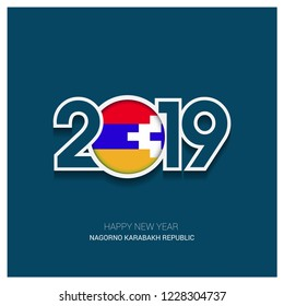 2019 Nagorno Karabakh Republic Typography, Happy New Year Background