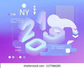 2019 neon holographic Memphis style. Banner with 2019 Numbers. Vector New Year illustration.