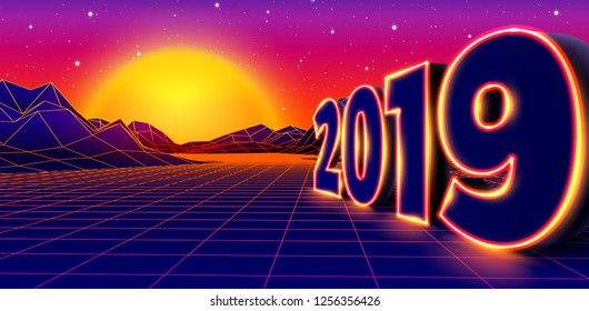 2019 neon sign for New Years Eve celebration with 80s styled arcade game grid landscape and yellow sun
