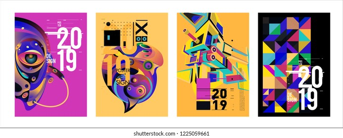 2019 New Abstract Poster Background Design Template. Vector Illustration and Typography Colorful Collage Cover and Page Layout Design Template in eps10.