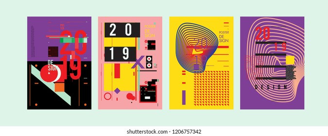 2019 New Poster Design Template. Trendy Vector Typography and Colorful Illustration Collage for Cover and Page Layout Design Template in eps10.