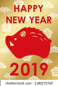 2019 New Year's symbol with a wild boar icon on a background with Japanese auspicious pattern, vector illustration.