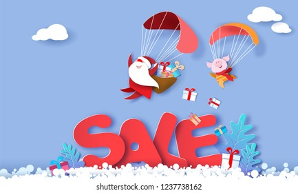 2019 New Year advertising design. Santa Claus and funny pig Flying with Parachute over big letters SALE blue background. Vector paper art illustration for promotion banners, headers, posters, stickers