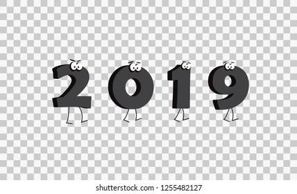 2019 New Year Background Colaboration. Illustration EPS10.