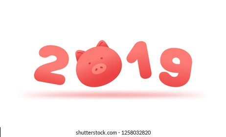 2019 New Year background. The year of the pig zodiac cartoon illustration.