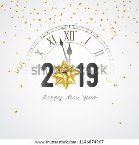 2019 new year banner with clock gift bow and confetti vector