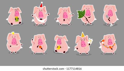 2019 New Year bash. Pigs celebrating party vector illustration. Cool vector flat character design on New Year or Birthday party with male and female characters having fun and having a toast.