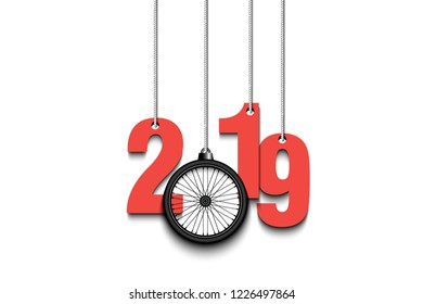 2019 New Year and bicycle wheel as a Christmas decorations hanging on strings. 2019 hang on cords on an isolated background. Design pattern for greeting card. Vector illustration