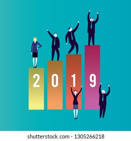 2019 New year, Business planning and saving concept. Business people celebrating an incredible good year 2019 -Vector Illustration-