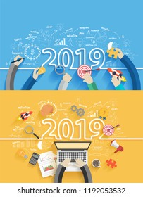 2019 new year business success creative drawing charts and graphs analysis and planning, consulting, team work, project management, brainstorming, research and development