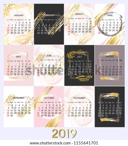 10f82e4f75e 2019 New Year Calendar Vector Design Stock Vector (Royalty Free ...